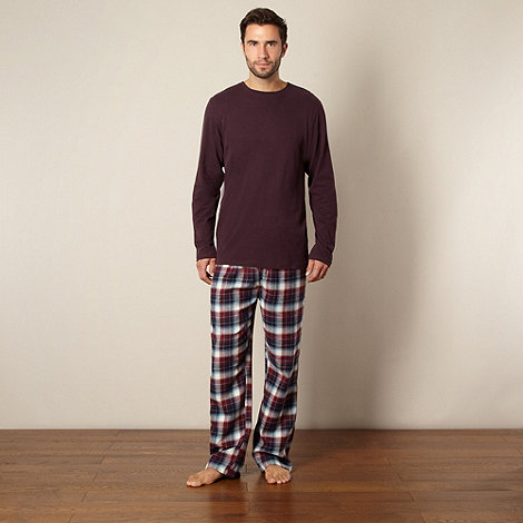 Maine New England - Wine top and checked bottoms loungewear set