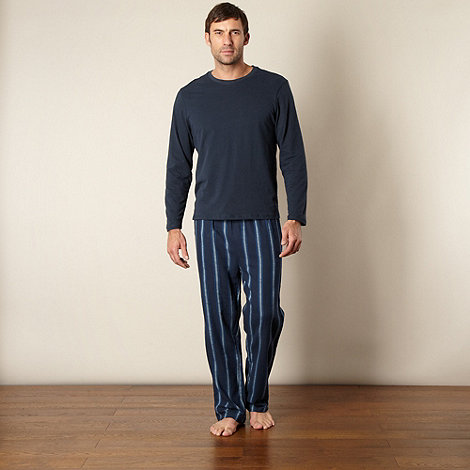 Maine New England - Navy brushed striped pyjama set