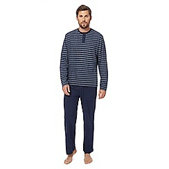 Maine New England - Big and tall navy striped print pyjama set