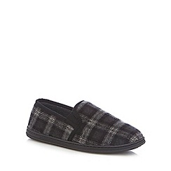 Maine New England - Black checked carpet slippers