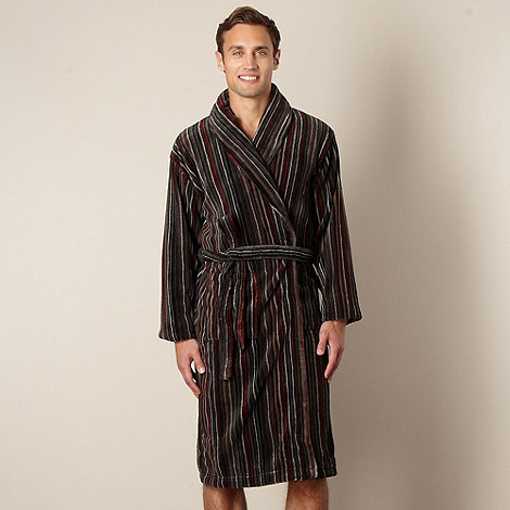 RJR.John Rocha - Designer dark grey striped fleece gown