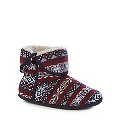 Mantaray - Red Fair Isle knit slipper boots
