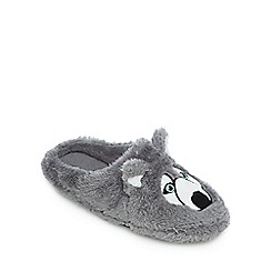 Mantaray - Grey Husky applique mule slippers