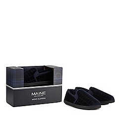 Maine New England - Navy slippers in a gift box