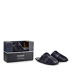 Maine New England - Navy mule slippers in a gift box