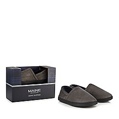 Maine New England - Grey suedette slippers in a gift box
