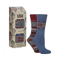 Totes - Pack of 2 navy Fair Isle slipper socks
