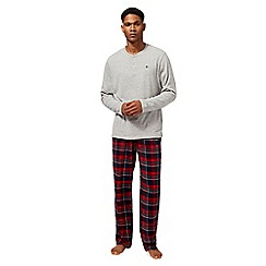 Mantaray - Big and tall grey checked print loungewear set