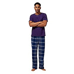 Mantaray - Big and tall purple checked print loungewear set