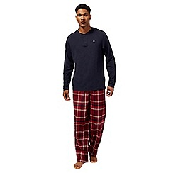 Mantaray - Big and tall navy checked pyjama set