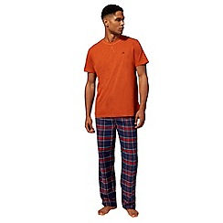 Mantaray - Big and tall orange checked print loungewear set