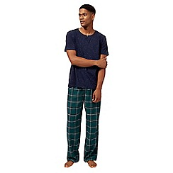 Mantaray - Big and tall navy checked print loungewear set