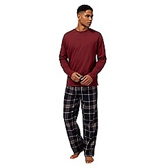 Mantaray - Big and tall dark red and dark grey checked pyjama set