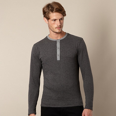 RJR.John Rocha - Designer dark grey marled button neck top