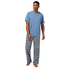 Maine New England - Big and tall blue checked print pyjama set
