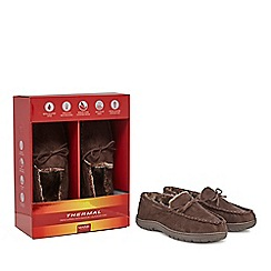 Maine New England - Brown 'Thinsulate' fleece-lined moccasin slippers