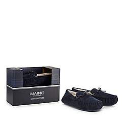 Maine New England - Navy suedette moccasin slippers in a gift box