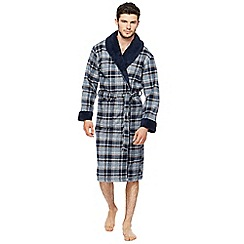 RJR.John Rocha - Big and tall navy checked sherpa lined dressing gown
