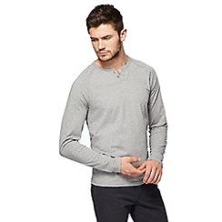 Red Herring - Grey grandad collar long sleeve top