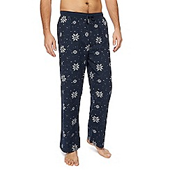 Red Herring - Big and tall navy snowflake pyjama bottoms