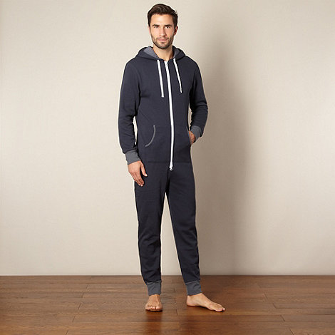 Mantaray - Navy zip through hoodie onesie