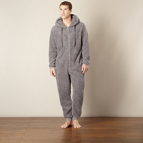 Mantaray - Grey hooded fleece onesie