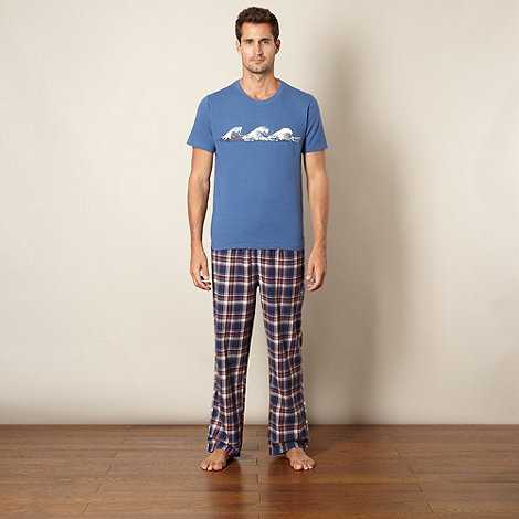 Mantaray - Blue wave print t-shirt and checked bottoms loungewear set