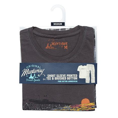 Mantaray - Dark grey pier t-shirt and checked bottoms loungewear set