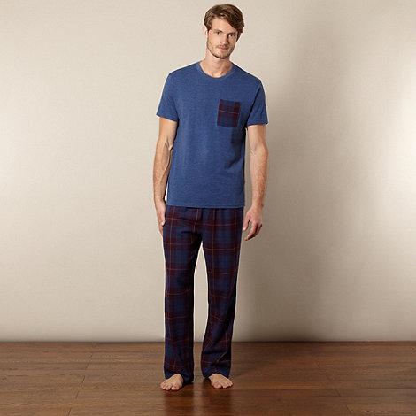 Mantaray - Blue t-shirt and checked bottoms loungewear set