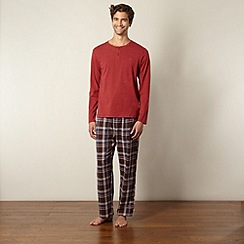 Mantaray - Red long sleeved top and checked bottoms loungewear set