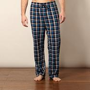 Blue herringbone brushed checked bottoms