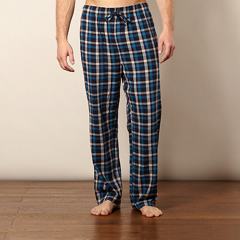 Mantaray - Blue herringbone brushed checked bottoms