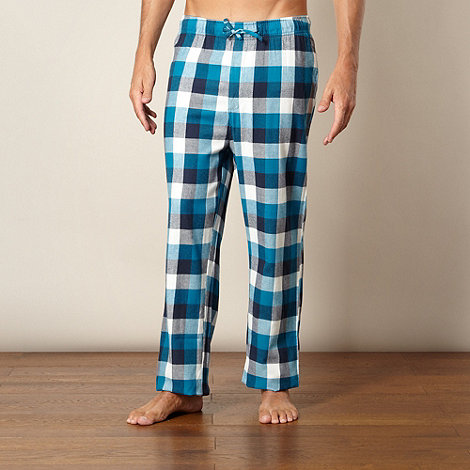 Mantaray - Pack of two orange and turquoise checked loungewear bottoms