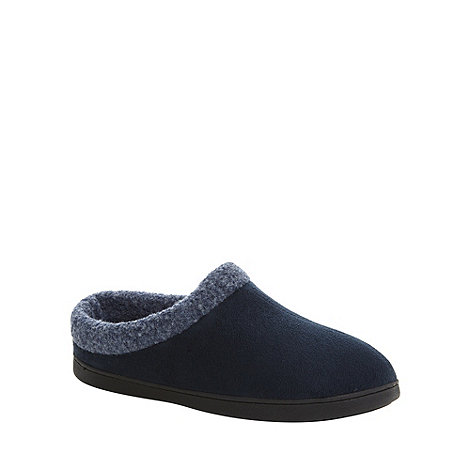 Maine New England - Navy borg cuffed memory foam mule slippers
