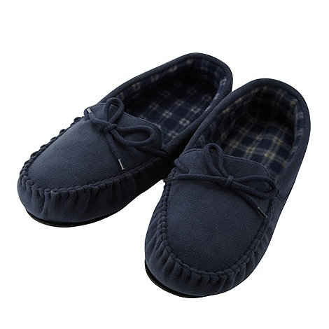 Maine New England - Navy fleece lined moccasin slippers