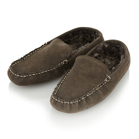 RJR.John Rocha - Designer dark brown suede moccasin slippers