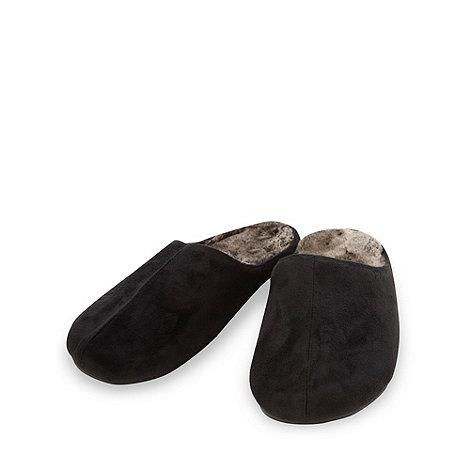 RJR.John Rocha - Designer black faux fur lined mule slippers