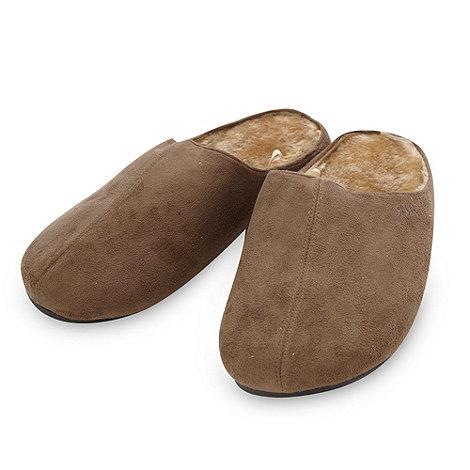 RJR.John Rocha - Designer tan faux fur lined mule slippers