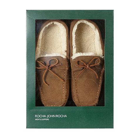 RJR.John Rocha - Designer tan suede moccasin slippers