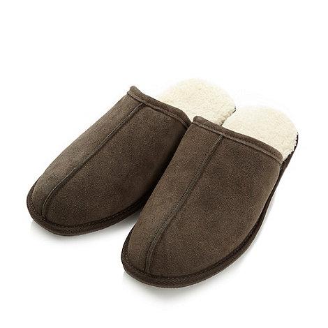 RJR.John Rocha - Designer chocolate suede mule slippers