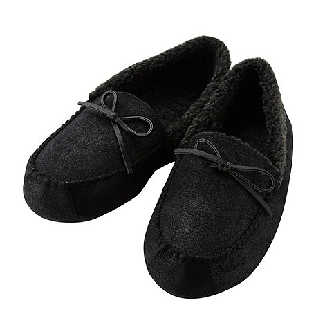 Mantaray - Black borg cuff moccasin slippers