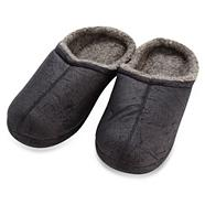 Black distressed mule slippers