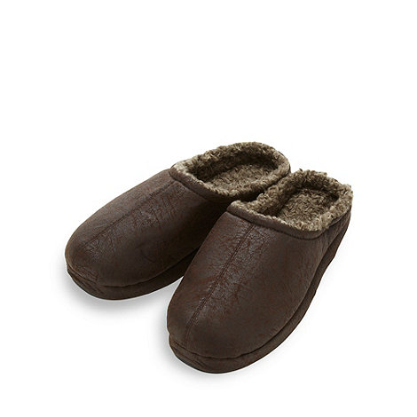Mantaray - Dark brown distressed mule slippers