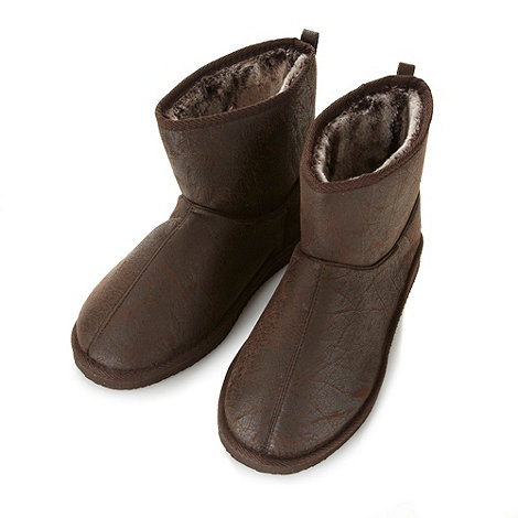 Mantaray - Brown distressed faux fur lined slipper boots