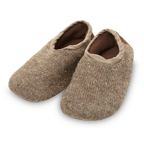 RJR.John Rocha - Designer brown knitted fleece carpet slippers
