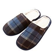Designer blue checked fleece lined mule slippers