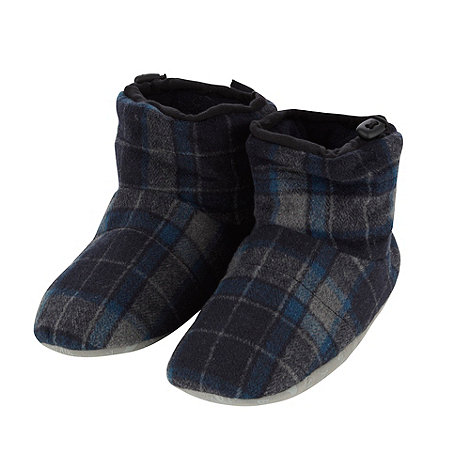 Mantaray - Navy checked fleece slipper boots