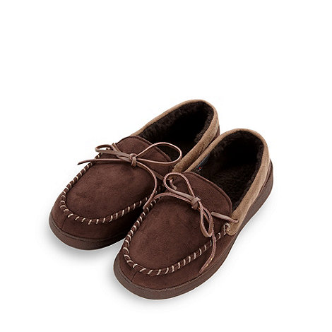 Maine New England - Chocolate fleece moccasin slippers