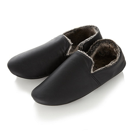 Maine New England - Black PU lined moccasin slippers