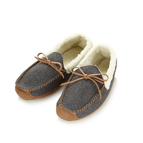 RJR.John Rocha - Designer grey fleece moccasin slippers